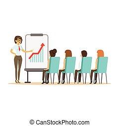 指すこと, オフィス, 女性実業家, whiteboard, イラストビジネス, ベクトル, 成長, グラフ, ミーティング