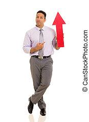 指すこと, シンボル, 中央の, 矢, ビジネスマン, 年齢, 赤