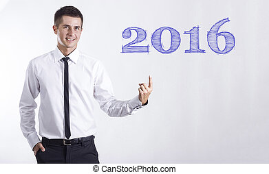 指すこと, テキスト, -, 若い, ビジネスマン, 微笑, 2016
