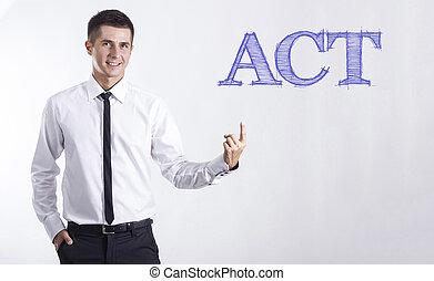 指すこと, テキスト, -, 若い, 行為, ビジネスマン, 微笑
