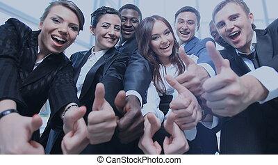 指すこと, ビジネス 人々, 若い, 肖像画, あなた, 興奮させられた