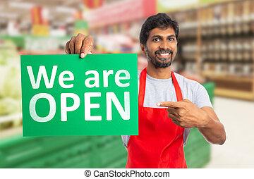 指すこと, ペーパー, 私達, 開いた, ハイパーマーケット, 仕事, 人
