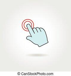指すこと, ボタン, 手, 感動的である, 指, ∥あるいは∥