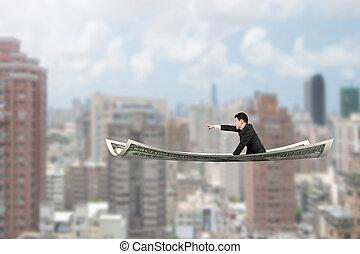 指すこと, モデル, お金, 飛行, 指, ビジネスマン, ジェスチャー, カーペット