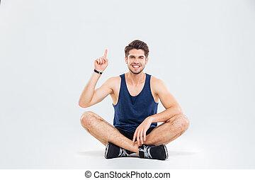 指すこと, モデル, 運動選手, の上, 朗らかである, 交差した脚, 人