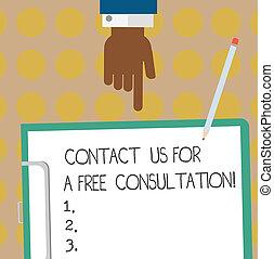 指すこと, 写真, 下方に, ペーパー, 私達, 寄付, サポート, 執筆, クリップボード, テキスト, 概念, pencil., 利用できる, 私達, ビジネス, 提示, 無料で, 手, 胡, consultation., 分析, 連絡