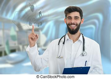 指すこと, 医者, 医学, ジェスチャー, シンボル, バックグラウンド。, 指, マレ, 作り