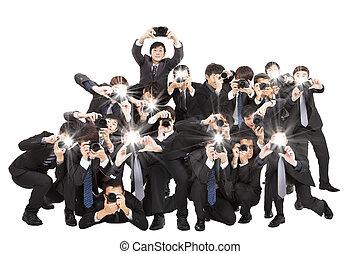 指すこと, 多数, 隔離された, カメラマン, カメラ, 保有物, あなた, 白