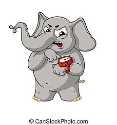 指すこと, 大きい, 怒る, character., 隔離された, elephants., ベクトル, clock., コレクション, elephant., 漫画