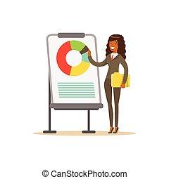 指すこと, 女性実業家, whiteboard, チャート, イラスト, プレゼンテーション, ベクトル, スーツ, 微笑