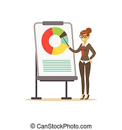 指すこと, 女性実業家, whiteboard, チャート, イラスト, プレゼンテーション, ベクトル, 微笑