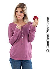 指すこと, 彼女, アップル, 指, 女, ブロンド