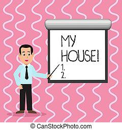 指すこと, 感じ, 写真, house., wall., 話し, ブランク, 暮らし, 快適である, ネクタイ, 料理, 保有物, テキスト, 概念, 白, 提示, スクリーン, スティック, 睡眠, あなた, 人, 場所, 缶, 私, 印