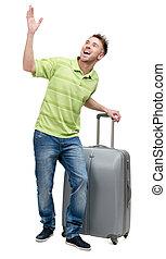 指すこと, 手, スーツケース, 銀男