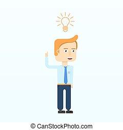 指すこと, 隔離された, 特徴, ビジネスマン, 微笑, bulb.