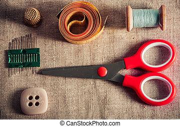 指ぬき, 針, 糸