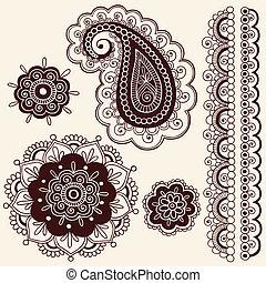指甲花, 佩斯利螺旋花紋呢, 花, doodles, 矢量