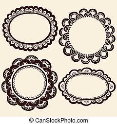 指甲花, doodles, 圖畫框架, 矢量