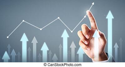 指示器, 商人, 積極, 增加, 圖表, 圖表, 成長, 計劃