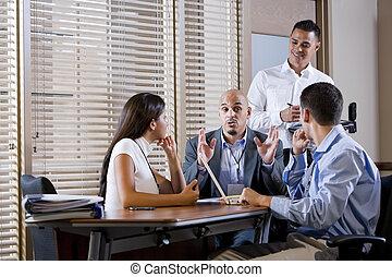 指示, マネージャー, 労働者, ミーティング, オフィス