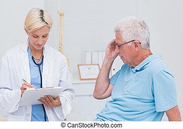 指示, 年長者, 寫, 病人, 醫生