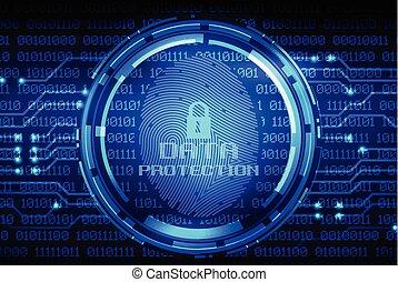 指紋, そして, データ保護, 上に, デジタル, スクリーン