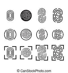 指紋, アイコン, set., vector.