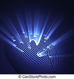 指紋, セキュリティー, デジタル