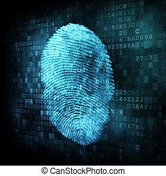 指紋, 上に, デジタル, スクリーン