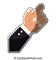 指, ステッカー, の上, 指すこと, 手