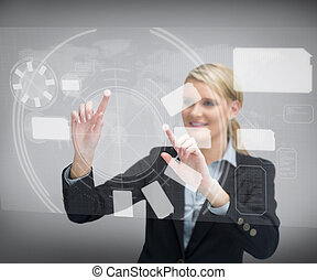 指, 感動的である, businesswoman`s, scr