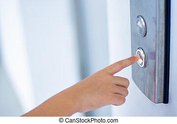 指, 押しボタン, エレベーター
