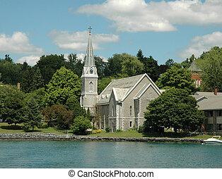 指, 教会, 湖