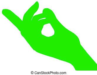 指, 緑, 合図する