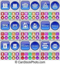 按鈕, 卡片, 腳本, 罐頭,  webinar, 柵欄, 建築物, 大, 信用, 集合, 多彩色,  apps, 垃圾, 籃子, 拱頂