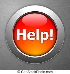 按鈕, 幫助, 紅色