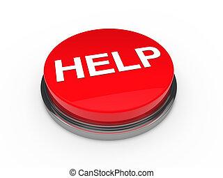 按鈕, 幫助, 紅色, 3d