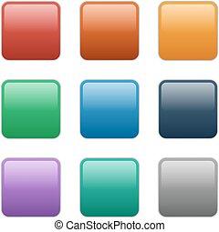 按鈕, 廣場, eps10, 插圖, 玻璃, 矢量