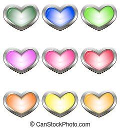 按鈕, 心, 形狀, 集合, 上色