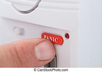 按鈕, 按壓, 恐慌, 人的, 手