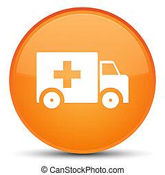 按鈕, 救護車, 橙, 輪, 特別, 圖象