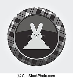 按鈕, 由于, 白色, 黑色, 格子呢, -, 愉快, rabbiticon