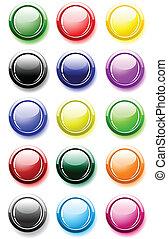 按鈕, 白色, 有光澤, 被隔离