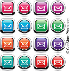 按鈕, 集合, 矢量, 郵件