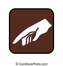 按钮, 广场, 指, 手