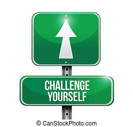 挑戦, イラスト, あなた自身, デザイン, 印, 道