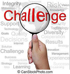 挑戦, 単語, 中に, 拡大鏡, 背景