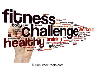 挑戦, 単語, 雲, フィットネス