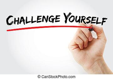 挑戦, 執筆, 手, あなた自身