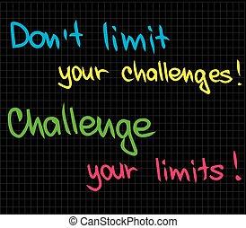挑戦, 限界, dont, あなたの